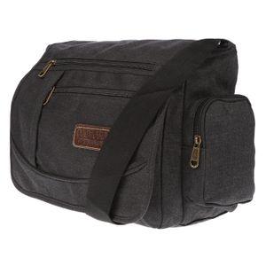 Christian Wippermann große XL Herren Damen Tasche Umhängetasche Canvas Messenger Bag  Schwarz