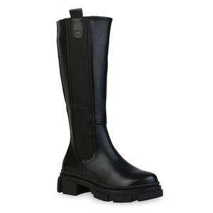 Mytrendshoe Damen Stiefel Plateaustiefel Blockabsatz Profil-Sohle Schuhe 835968, Farbe: Schwarz, Größe: 39