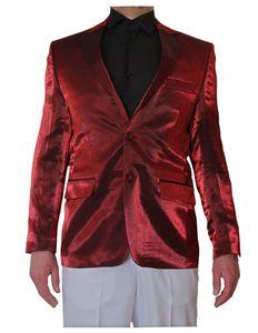Herren Glanz Sakko  einzeln tailliert Hochzeit Glanz Smoking Jacke 2 Knopf Einreiher 2. Wahl, Größe Anzüge:50 M, Farbe Anzüge:Bordeaux Rot Glanz