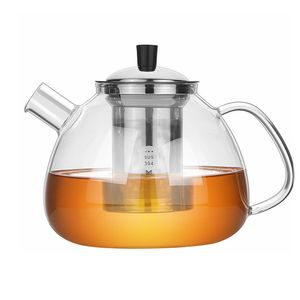 1500ml Teekanne Glas Borosilikatglas Teebereiter mit 18/10 Edelstahl Stövchen Abnehmbare Sieb Rostfrei Hitzebeständig für schwarzen Tee grüner Tee Fruchttee duftender Tee und Teebeutel