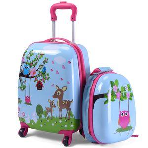 COSTWAY 2tlg Kinderkoffer + Rucksack Kofferset Kindergepaeck Reisegepaeck Kindertrolley Hellblau