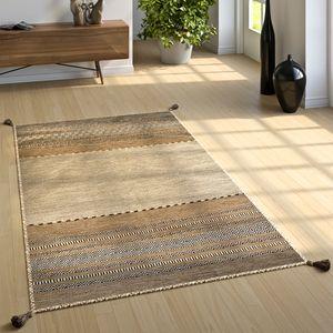 Designer Teppich Webteppich Kelim Handgewebt 100% Baumwolle Modern Gemustert Beige, Grösse:80x150 cm