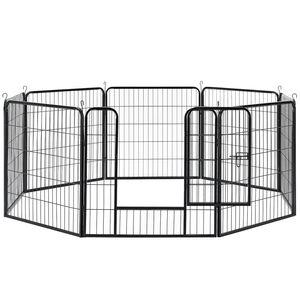 Juskys Metall Welpenauslauf | verriegelbare Tür | 80 cm | Tierlaufstall für Hunde, Katzen & Kleintiere | Welpenlaufstall Freilaufgehege Laufgitter