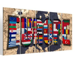 Leinwandbilder 5 teilig XXL 200x100cm Karte Welt Europa Europe Weltkarte Landkarte map alt Druck auf Leinwand Bild 9BM325