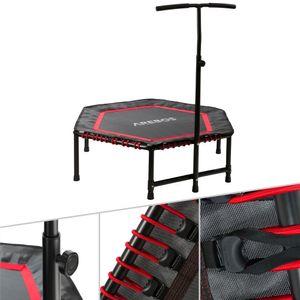 AREBOS Fitness Trampolin mit Haltegriff Hexagonal Rot - direkt vom Hersteller