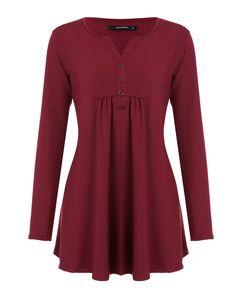 Mixfeer Damen Vintage Langarm V-Ausschnitt Plissee Tunika Shirt【XL】