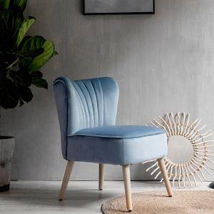 Laxllent Stuhl Samt Blau Sessel Polsterstuhl 57x68x76CM,mit Holzfüß Weich Gepolstert Stuhl für Esszimmer Wohnzimmer Salon