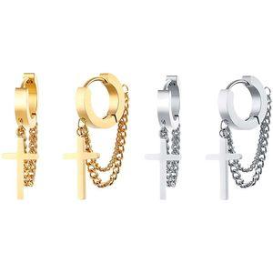 Mllaid 24 Paar Edelstahl-Ohrringe im koreanischen Stil, nicht piercing oder piercing, baumelnd, Huggie-Ohrringe, Quasten-Kette, Clip-Ohrringe, Bangtan Boy BTS-Ohrringe