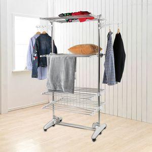 Wäscheständer Kleiderstange Wäscheturm Wäschetrockner mit Flügel klappbar Mobil 4 Ebenen