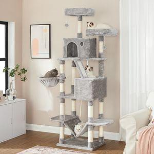 FEANDREA XL-Katzenbaum, 206 cm, Katzenhaus, Katzenbett, Kuschelhöhle, Aussichtsplattformen, Fellbälle, stabilität, hoch, hellgrau PCT190W01