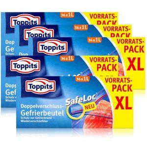 Toppits Doppel-Verschluss Gefrierbeutel 36x1 Liter (5er Pack)