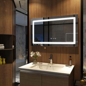 Meykoers Wandspiegel Badezimmerspiegel LED Badspiegel mit Beleuchtung 100x60cm mit Uhr, Touch-Schalter und Beschlagfrei, Lichtspiegel Kaltweiß 6400K Energieklasse A++