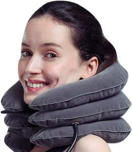 Aufblasbar Cervical Hals Zugmechanik verbessern Ausrichtung der Wirbelsäule reduzieren Nacken-Halskrause verstellbar(Grau)
