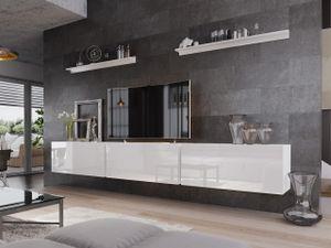 Mirjan24 Wohnwand Boxing VI, TV-Möbel, Stilvoll Anbauwand, Wohnzimmer-Set, Wandregal (Weiß / Weiß Hochglanz, ohne Füße)