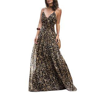Frauen Leopardenmuster Langes Kleid Mit V-Ausschnitt Spaghetti Schultergurte aermellos Casual Maxi-Kleid L Sommerkleider