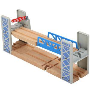 DIY Zuggleis, Holz Doppeldeck Brücke Überführung Spielzeug, Eisenbahnszene Zubehör