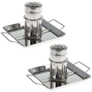 bremermann Hähnchenbräter 2er-Set // mit Aromabehälter, aus Edelstahl ca. 24,5 x 18,5 cm // BBQ-Hähnchen Hähnchenhalter Geflügelbräter