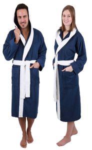 Betz Bademantel mit Kapuze PARIS 100% Baumwolle für Damen und Herren 2-farbig,  Größe - XXL - blau-weiß