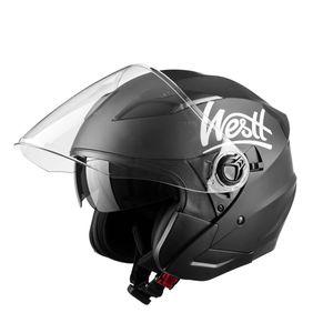 Westt Jet Motorradhelm Matt Schwarz Double Visor Helm - Roller - E, Farbe:Schwarz, Größe:XL (61cm)