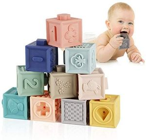 Babyblöcke mit Weiche Bausteine Babyspielzeug, Beißringe Pädagogische Bunte 3D Soft Squeeze Babyblöcke für Baby ab 6 Monate und Mehr 12PCS