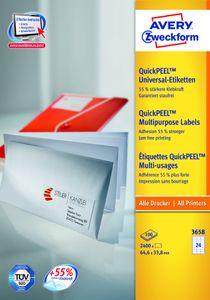 Avery Zweckform 3658 Universal-Etiketten, 64,6 x 33,8 mm, 100 Blatt/2.400 Etiketten, weiß