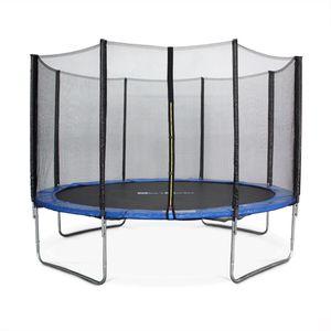 Rundes Trampolin Ø 370cm blau mit Schutznetz - Saturne - Gartentrampolin 370 cm 3m | PRO Qualität. | EU-Standards.