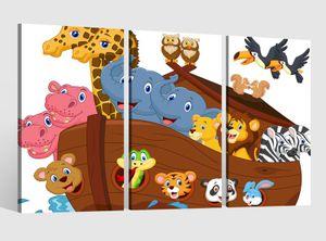 Leinwandbild 3 tlg  Kinderzimmer Tiere Afrika Boot Kat2 Giraffe Zebra Zoo Bild Leinwand Leinwandbilder Wandbild 9AB1635, 3 tlg BxH:120x80cm (3Stk  40x 80cm)