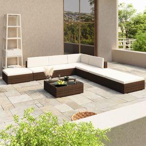 8-tlg. Garten-Lounge-Set mit Auflagen Poly Rattan Braun - Gartenmöbel Set Garten-Essgruppe für Garten
