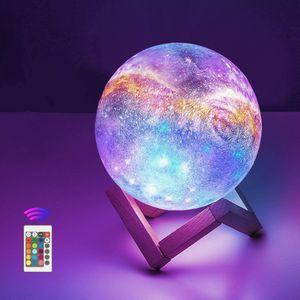 Mond Lampe 3D Nachtlicht 12cm LED Mond Lampe Fernbedienung Farbige Dekoleuchte Mondlicht Sternenhimmel Nachtlicht mit Touchschalter Dimmbar 16 Farben