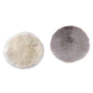 2 Stück Flauschig Lammfell Schaffell Teppiche Bettvorleger Sofa Matte Kinderteppiche Beige + Grau 30 x 30 cm