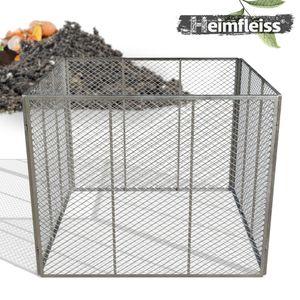 Heimfleiss® Metall Komposter 100x100x80 cm aus Feuerverzinktem Streckmetall - Gartenkomposter 800L - Garten Metallkomposter mit engmaschigem Gitter