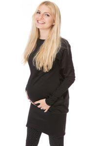 GFWL Umstandskleid Stillkleid Umstandsleggings #Set, Schwangerschaftskleid, Still Kleid GF2397XA in Schwarz plus weißen Punkten auf Schwarz, Größe Damen EU:42 X-Large