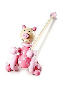 Mousehouse Gifts - Nachzieh-Schweinchen aus Holz - ideal für Kleinkinder - Rosa