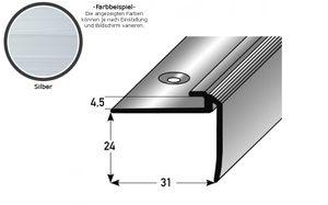 """Einschubprofil """"Kilkenny"""" mit Nase für Designbeläge, Einfasshöhe 4,5 mm, Aluminium eloxiert, gebohrt-silber-2700"""