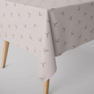 SCHÖNER LEBEN. Tischdecke dunkle Hirsche creme beige verschiedene Größen, Tischdecken Größe:130x200cm