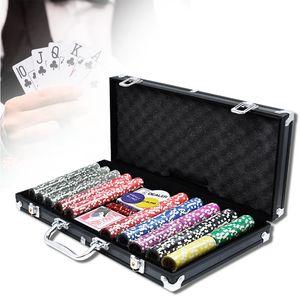 Hengmei Pokerkoffer Pokerset mit 500 Laser Pokerchips Pokerkarten Zubehör inkl. 2X Pokerdecks, Alu Pokerkoffer, 5X Würfel, 3X Dealer Button, Poker, Pokerchips, Koffer, Jetons Schwarz