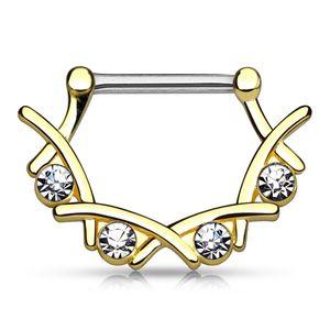Brustwarzen Piercing mit Zirkonia Kristallen Nippelpiercing Brustpiercing Strass Nipple Barbell Autiga® gold-klar 1,6 mm