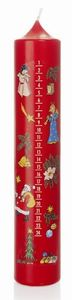 Adventskalenderkerze in rot 265 x 50 mm, Kalenderkerze Advent