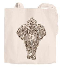 Jutebeutel Mandala Elefant Zentangle Mandala Baumwolltasche Einkaufstasche Autiga® natur 2 lange Henkel