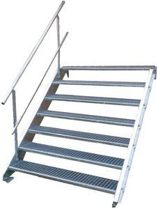 Stahltreppe 7 Stufen-Breite 100cm Variable-Höhe 100-140cm mit einseit. Geländer