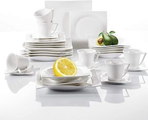 vancasso Lolita 30-teilig Porzellan Tafelservice, Eckiges Kombiservice, Geschirr Set mit je 6 Kaffeetassen, Untertassen, Dessertteller, Suppenteller und Essteller