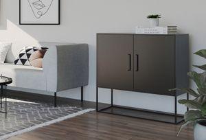 HOMEXPERTS Sideboard RICH, aus Metall, Breite 85 cm, Kommode in schwarz