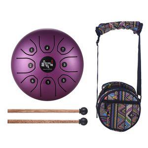 5,5 Zoll Mini 8-Tone Stahlzunge Trommel C Key Percussion Instrument Hand Pan Drum mit Trommelschlaegel Carry Bag