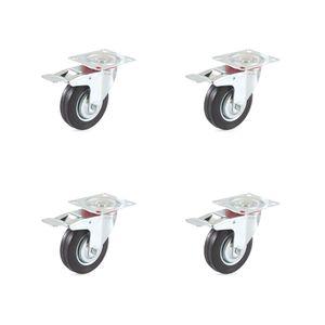 Set 4 Lenkrollen mit Bremse 100 mm Vollgummi Rollenlager
