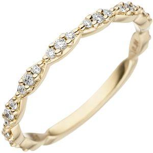 JOBO Damen Ring 50mm 585 Gold Gelbgold 27 Diamanten Brillanten Goldring Diamantring