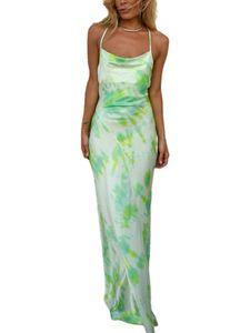 Damen y Kleid Tie-Dye Neckholder Neckholder Tie-Dye Tasche Hüftlanger Rock,Farbe: Grün,Größe:XL