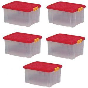 5 x Aufbewahrungsboxen aus Plastik, 40 x 29 x 21 cm, mit Deckel, Eurobox, stapelbar, 15L (5, M)