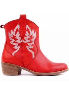 Damen Western Cowboy Stiefeletten Chunky Heel Freizeitschuhe Slip On Pointed Toe,Farbe:rot,Größe:36
