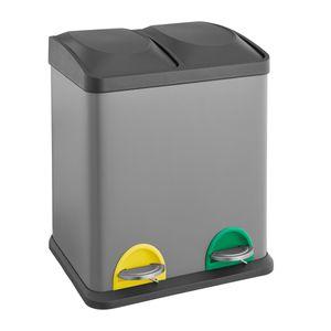 SVITA TC2X15 Mülleimer grau 30 Liter Abfalleimer Mülltrennung Trennsystem Stahl 2x15L