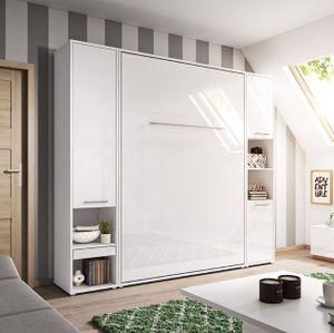 Mirjan24 Schlafzimmer-Set Concept Pro Vertical, Wandklappbett und 2 Regale, Bettschrank, Wandbett mit Lattenrost (Weiß Matt / Weiß Hochglanz, CP-01 (140x200))